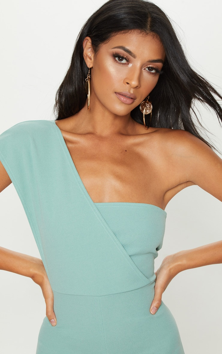 Mint Drape One Shoulder Romper 5