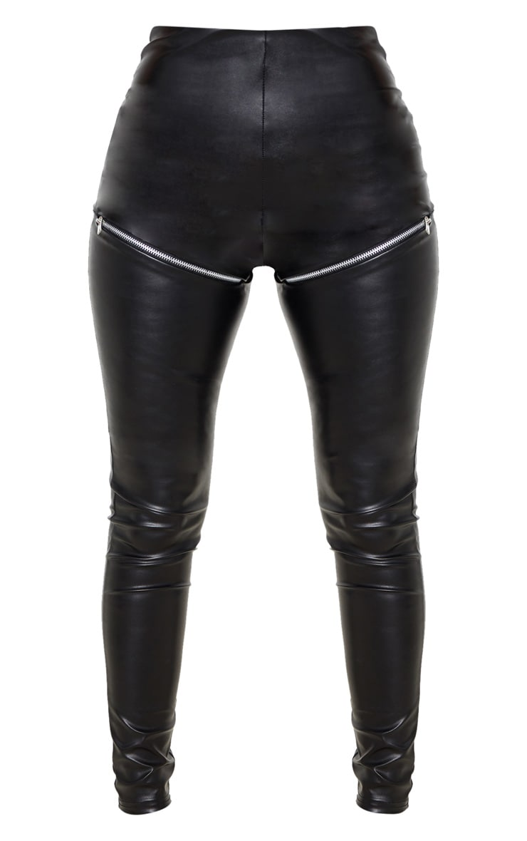 Petite Black Zip PU Biker Leggings 3