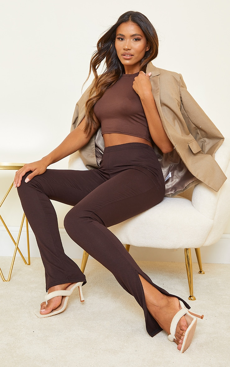 Basic Chocolate Jersey Split Hem Leggings 4