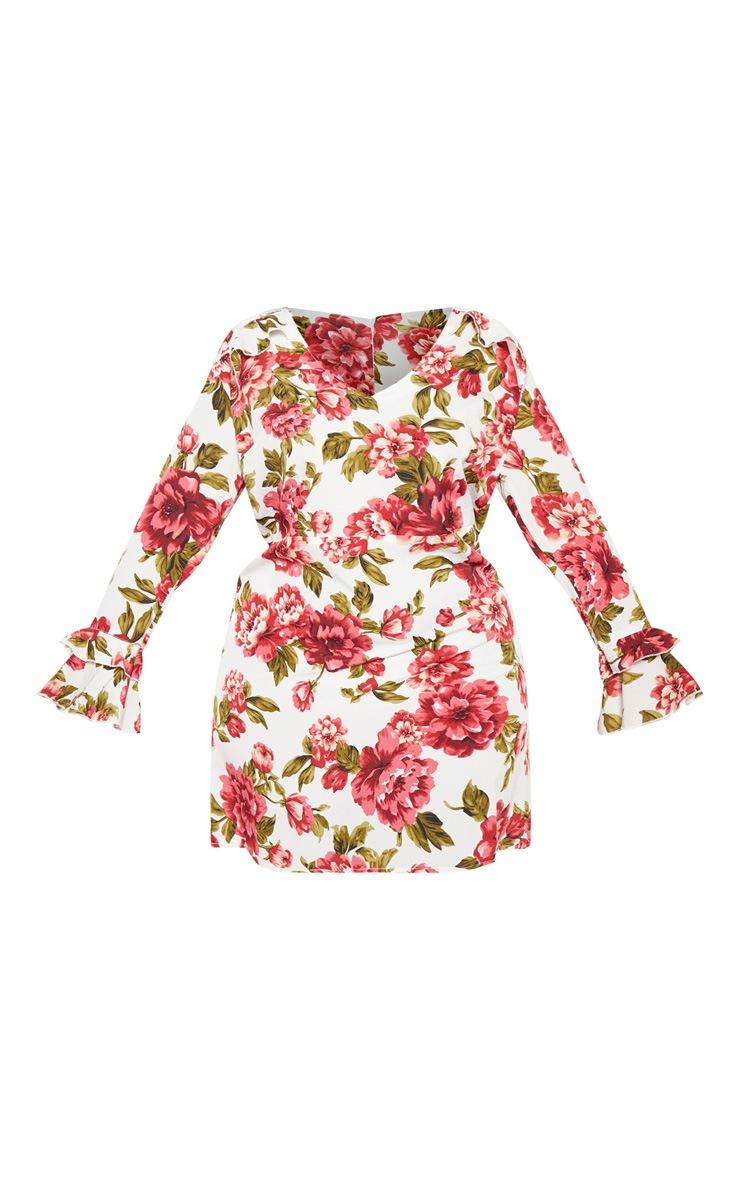 Plus Cream Floral Ruffle Detail Shift Dress 3