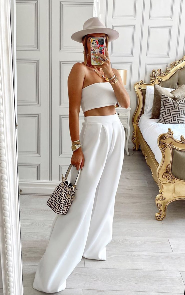 White Bonded Scuba Pleated Extreme Wide Leg Trousers 1