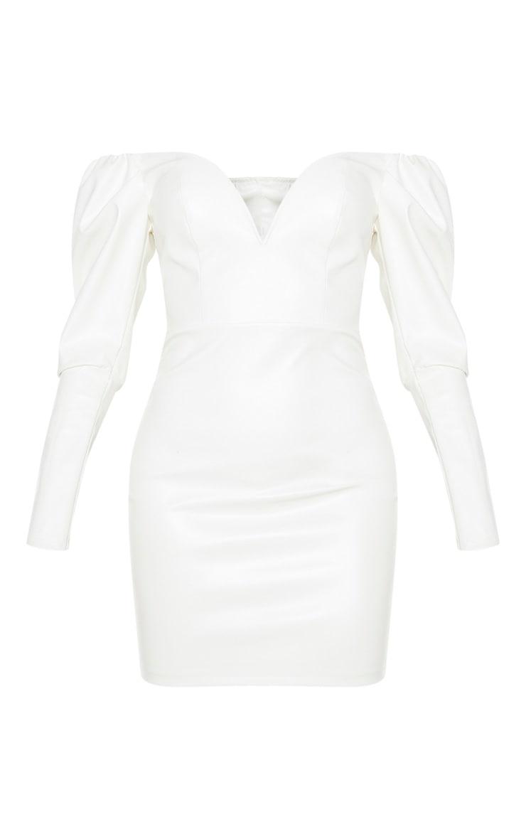 Tall - Mini-robe décolletée en similicuir crème à manches longues 3