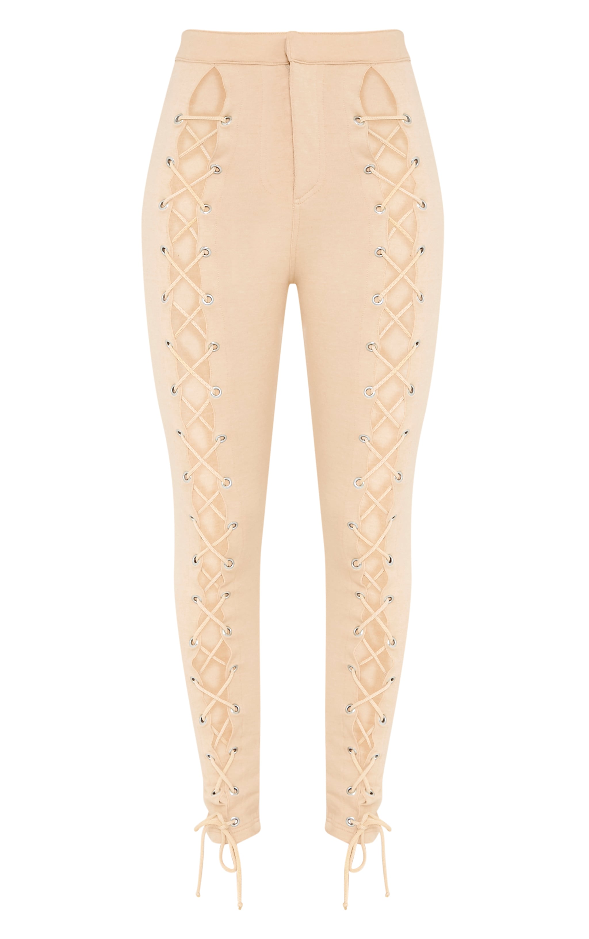 Lynda Stone Front Lace Up Skinny Trousers 3
