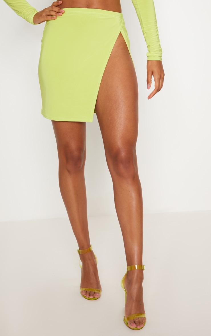 Lime Slinky Split Front Mini Skirt 2