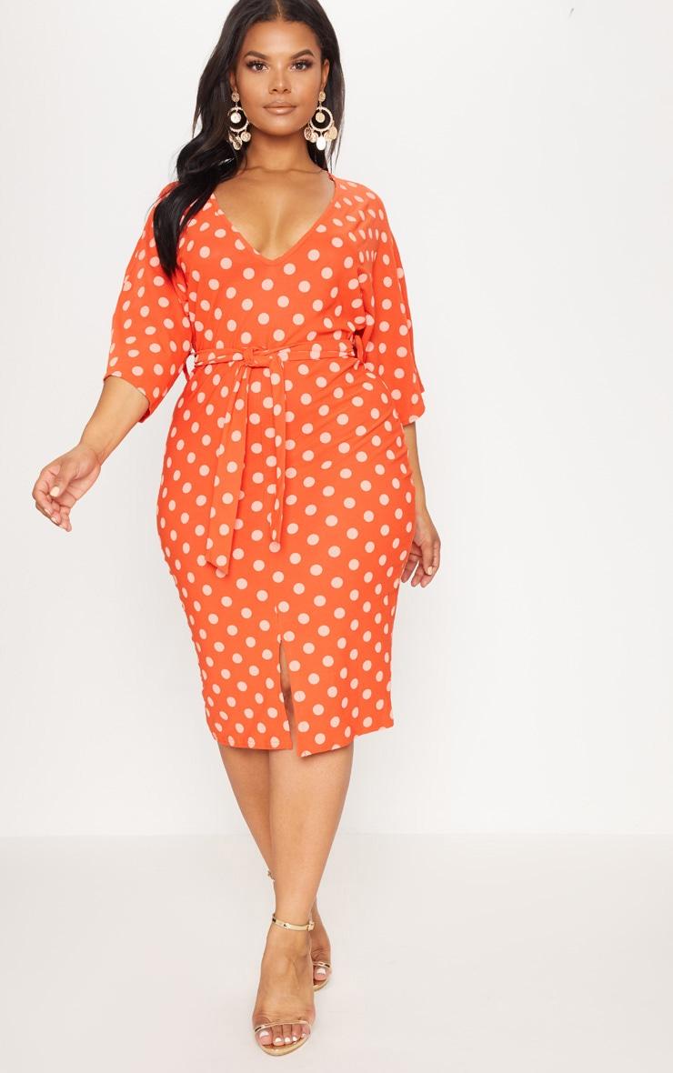 Plus Orange Tie Waist Polka Dot Plunge Kimono Sleeve Midi Dress