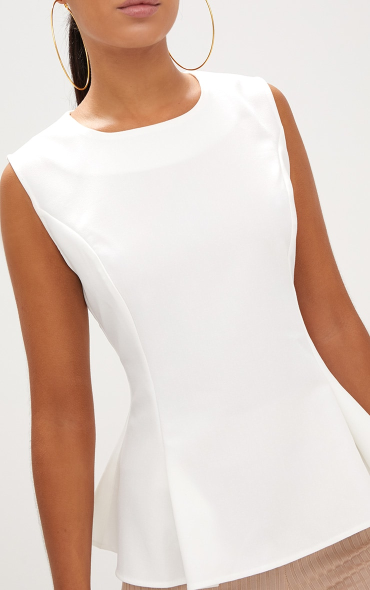 White Sleeveless Peplum Hem Woven Top 4