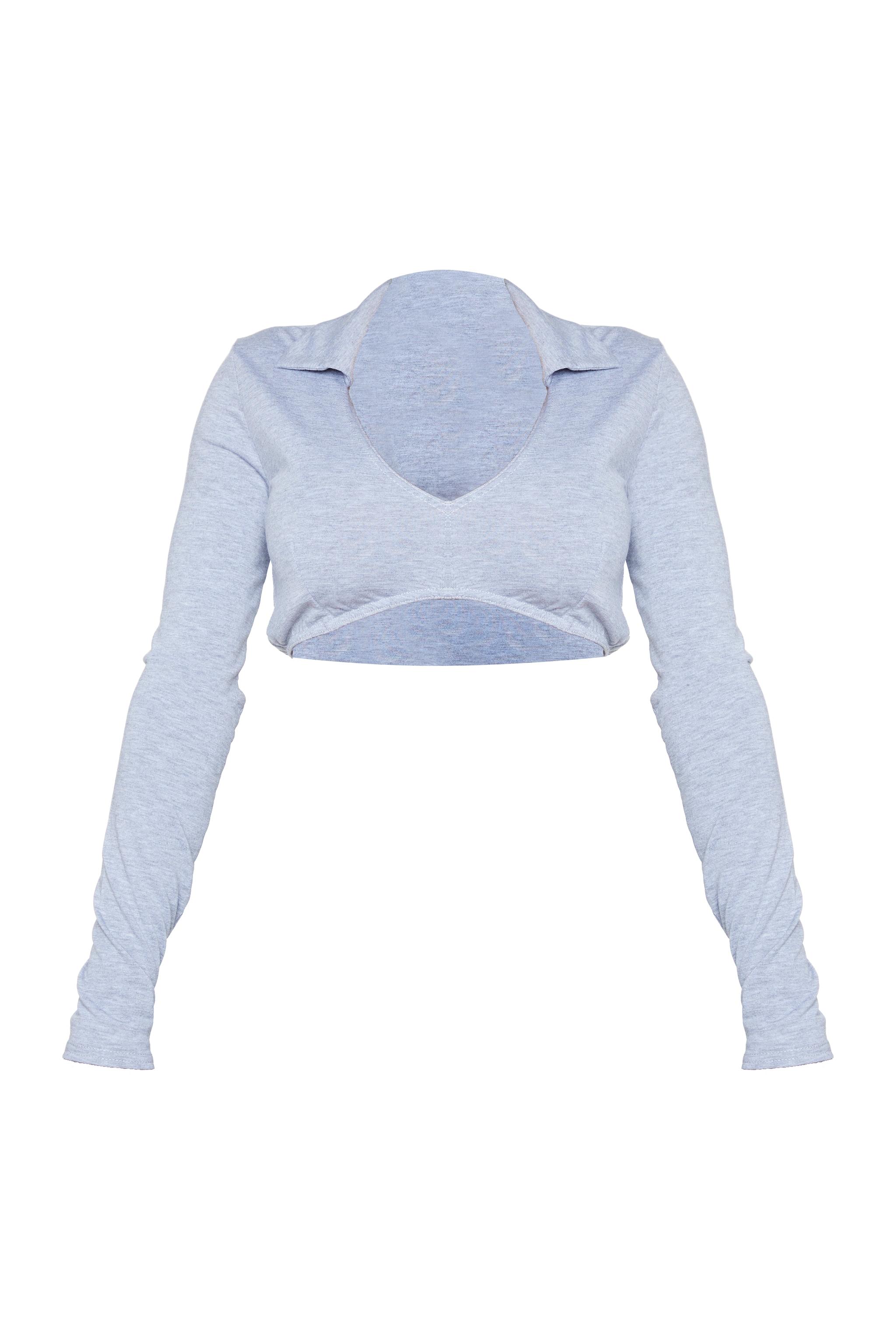 Shape Grey Jersey Collar Detail Plunge Crop Top 5