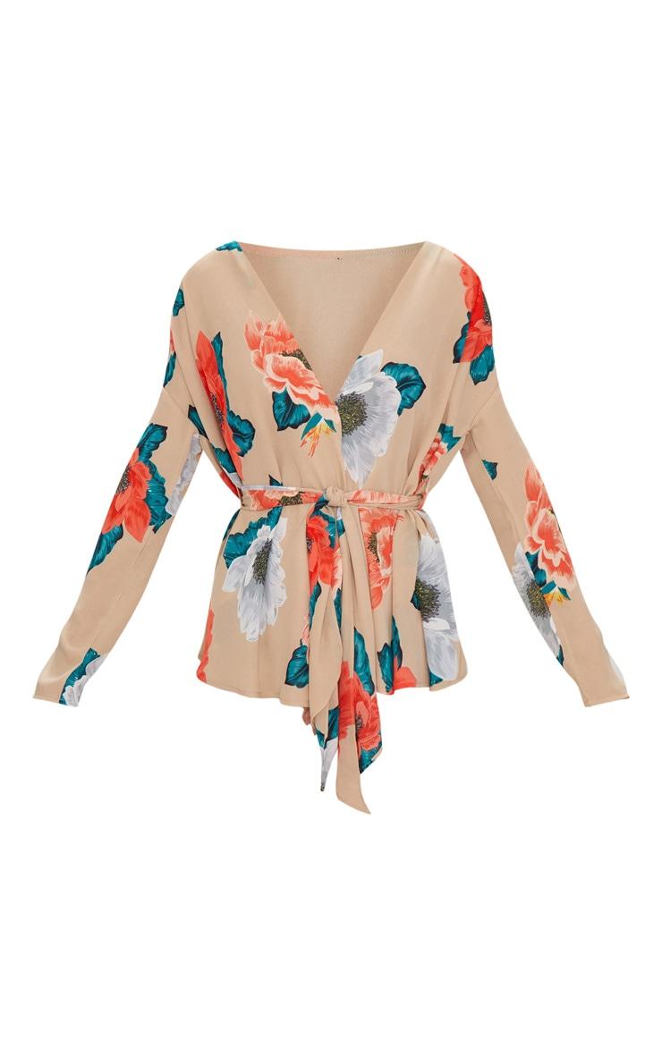 Nude Large Floral Tie Waist Blouse 3