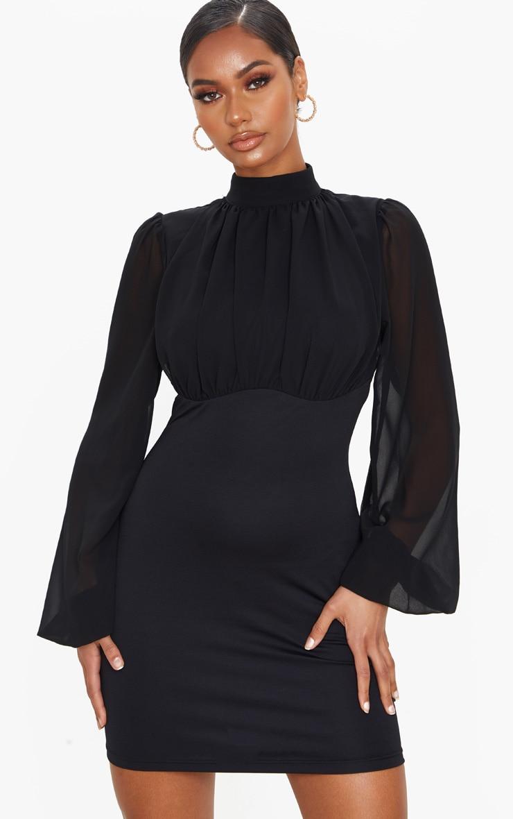 Black Chiffon High Neck Balloon Sleeve Bodycon Dress 1