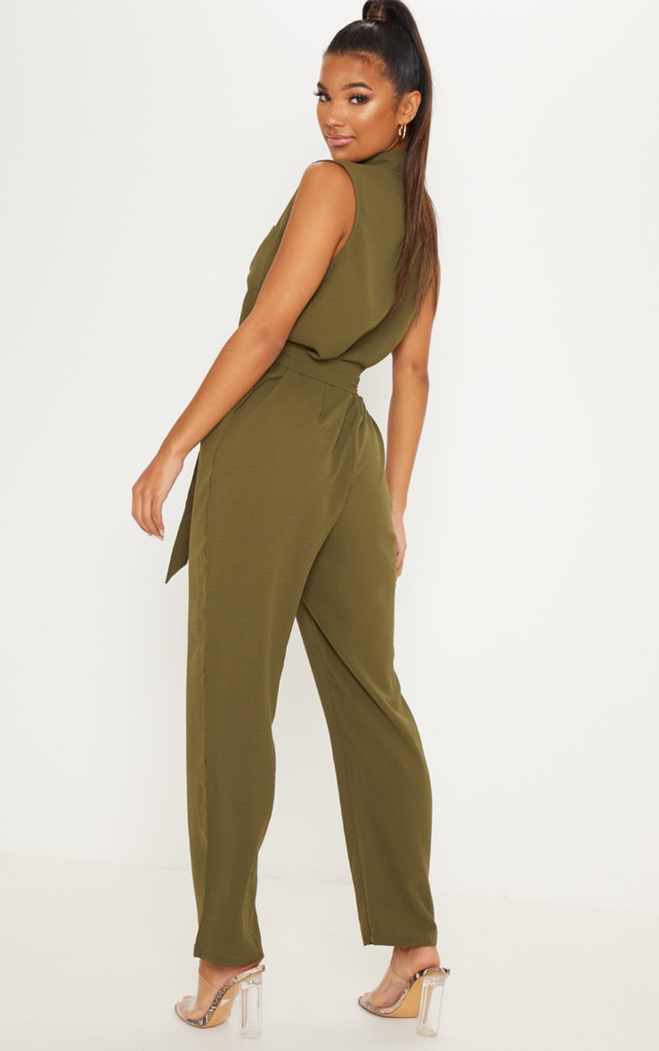 Khaki Tortoiseshell Button Sleeveless Jumpsuit 2