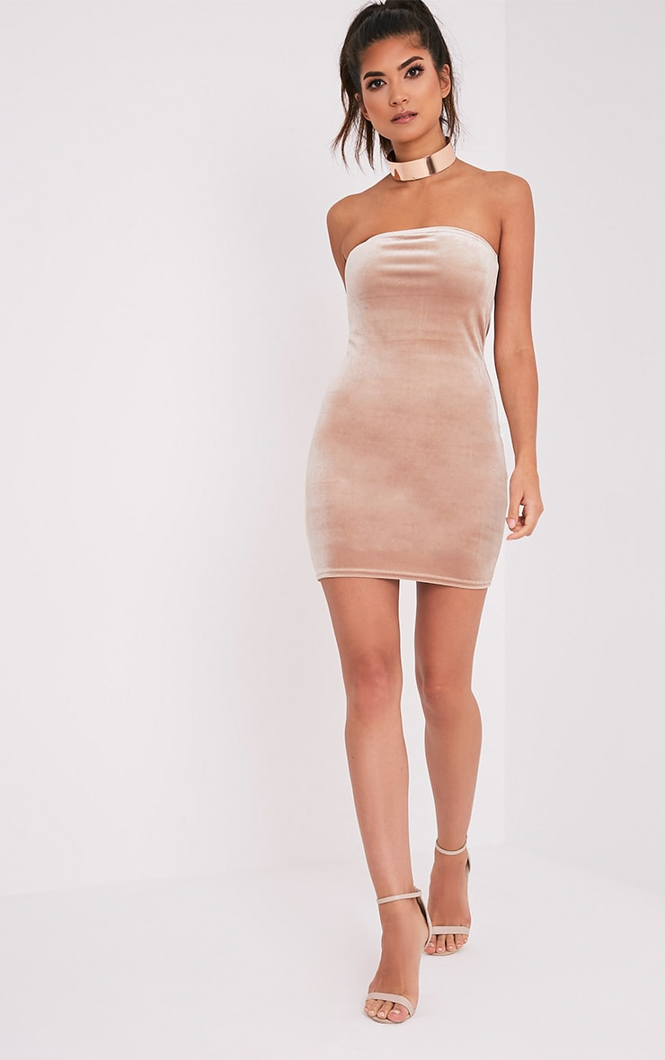 Shany Champagne Velvet Bandeau Bodycon Dress 5