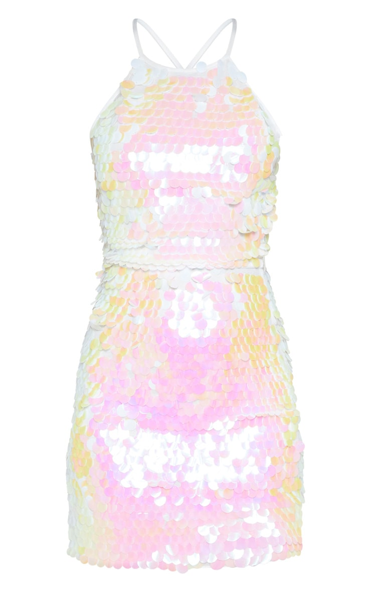 Shelie robe droite à sequins blanche  3