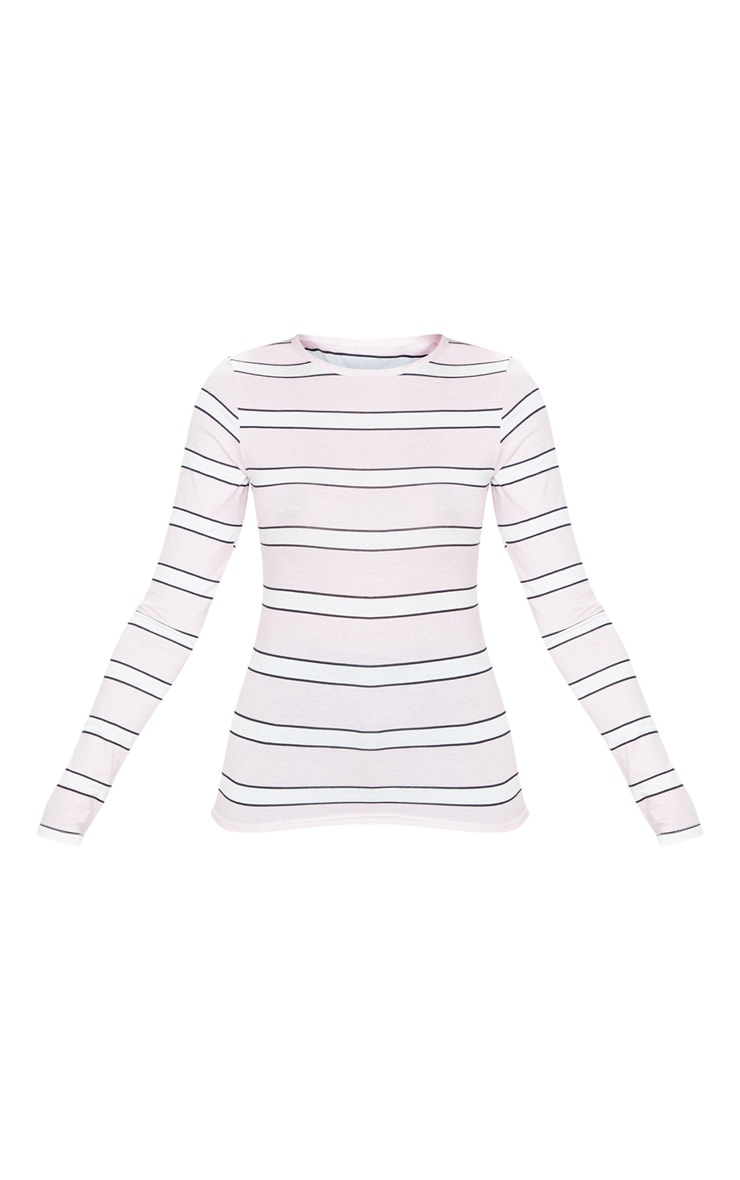 Basic Pink Stripe Long Sleeve Fitted T Shirt  3