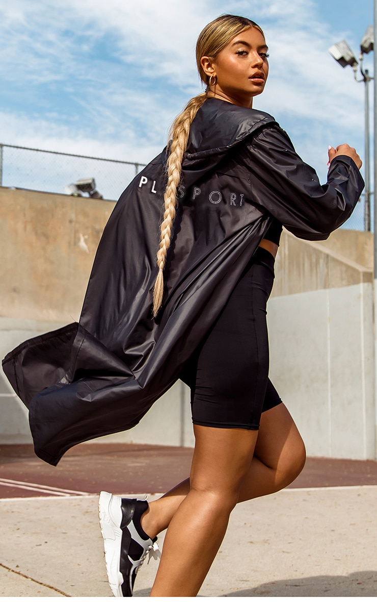 PRETTYLITTLETHING Black Sport Midi Windbreaker