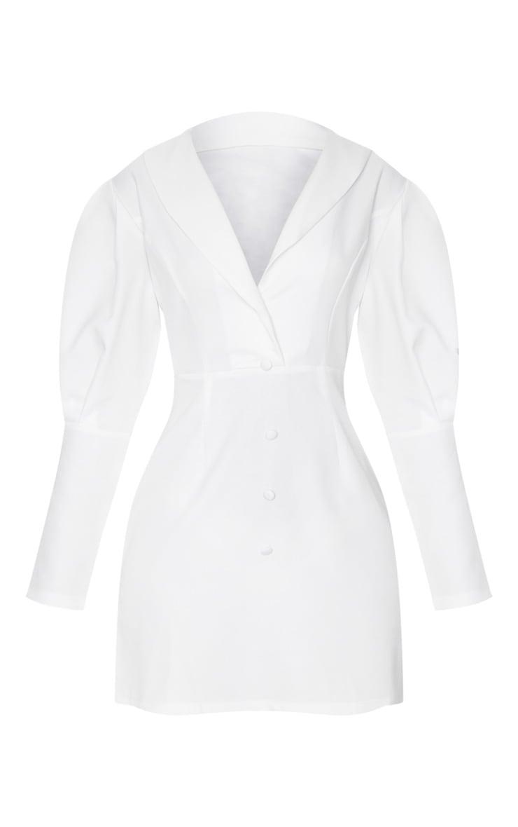 White Puff Sleeve Button Detail Blazer Dress 5