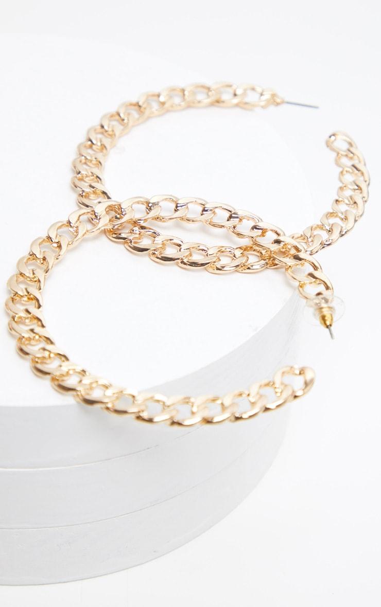 Gold Chunky Chain Large Hoop Earring 3
