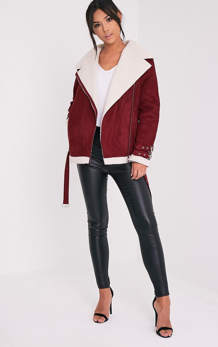 Emilia Burgundy Faux Suede Aviator Jacket 5