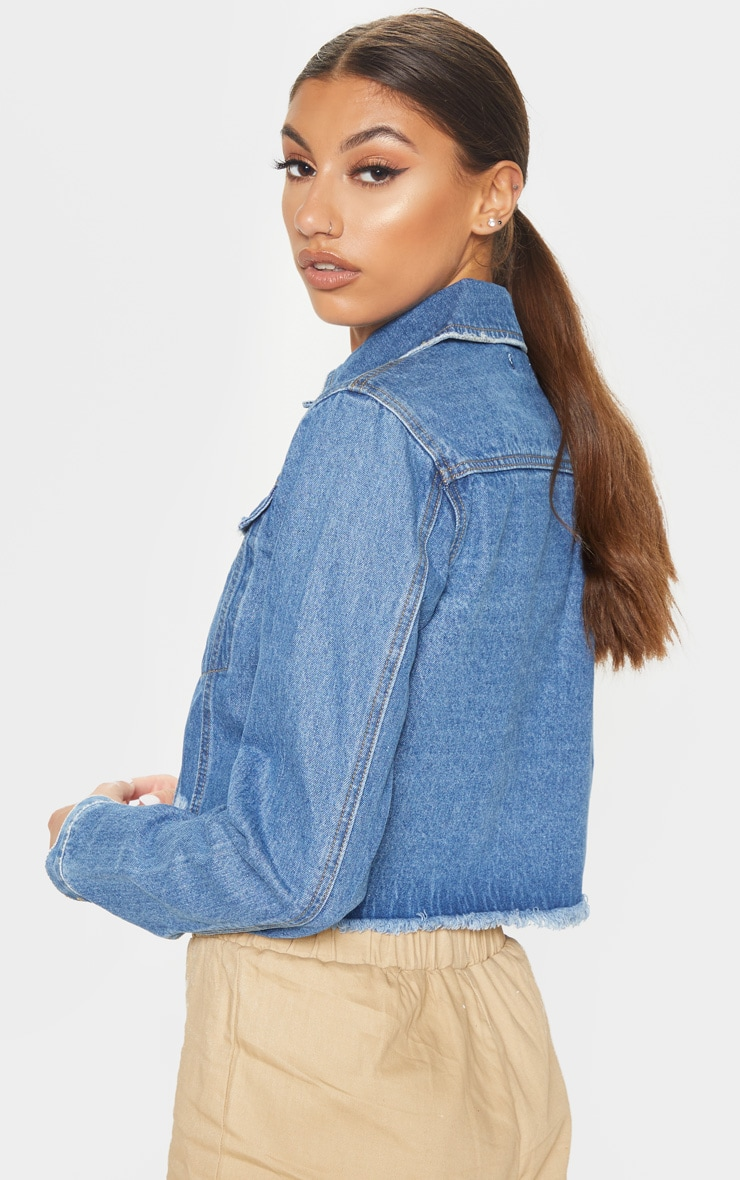 Tall Mid Wash Cropped Denim Jacket 2