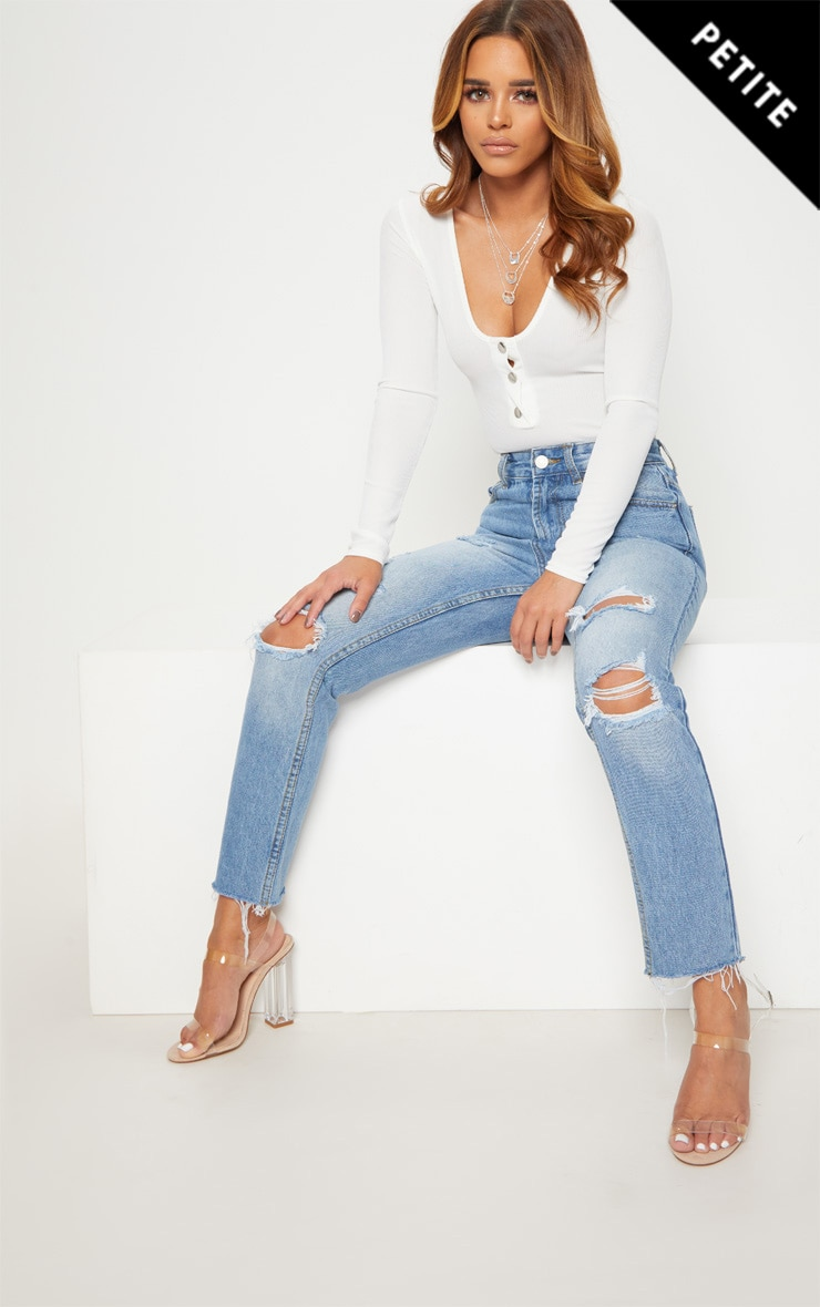 Petite Light Wash Distressed Mom Jeans 1
