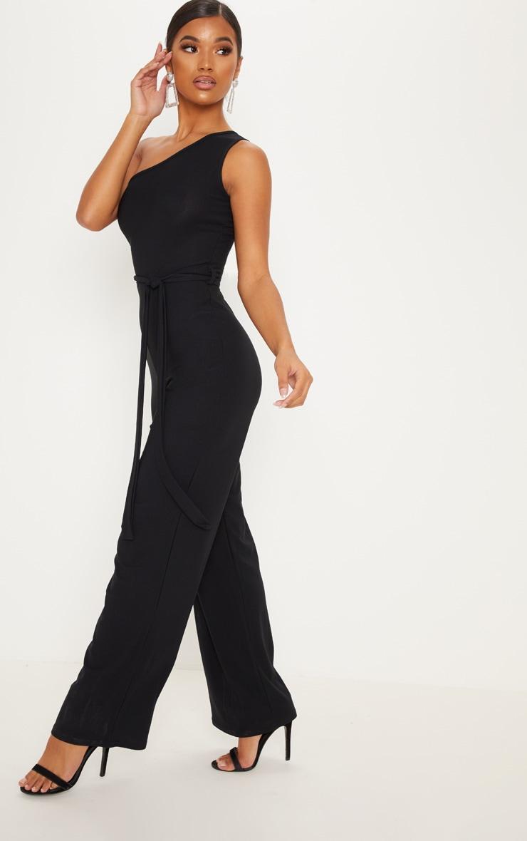 Black One Shoulder Tie Waist Jumpsuit 4