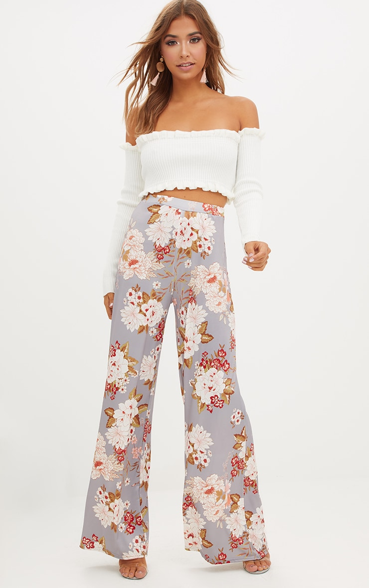 Grey Floral Print Slinky Wide Leg Trousers 1