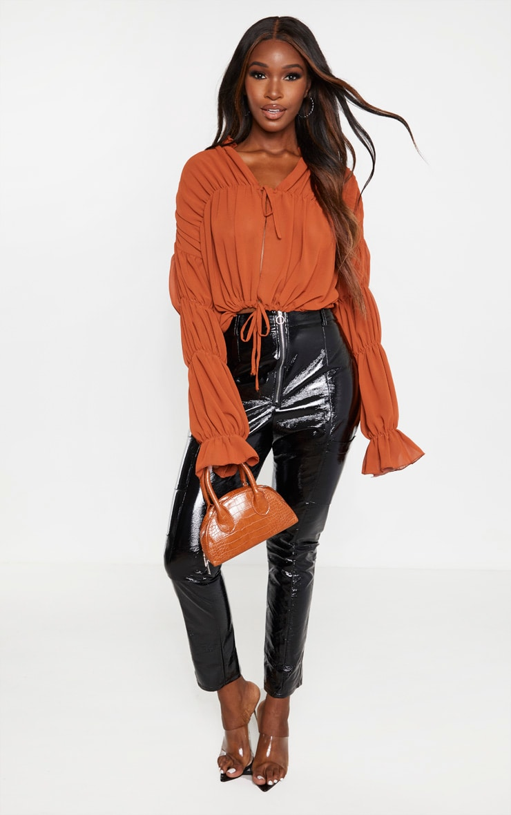 Rust Sheer Ruched Tiered Blouse 1