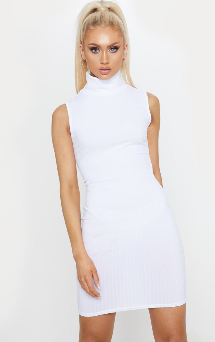 White Jumbo Rib Roll Neck Bodycon Dress 1