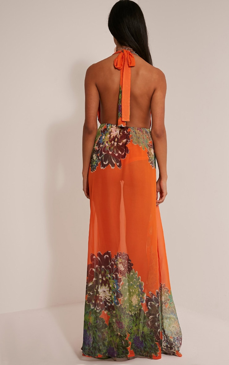 Alina Bright Orange Tropical Print Plunge Maxi Dress 2
