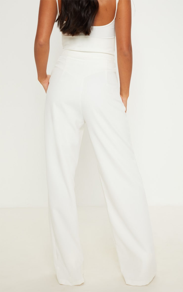 Petite Cream Belt Ring Detail Wide Leg Pants 4