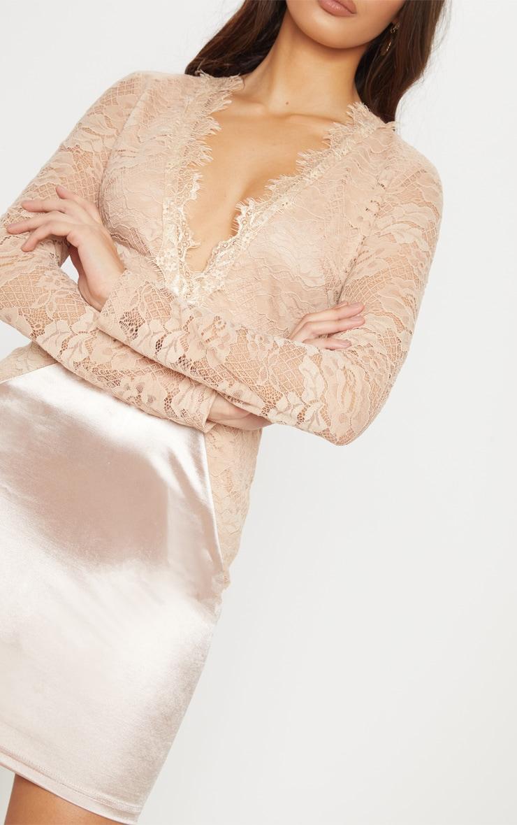 Champagne Lace Top Satin Bodycon Dress 5