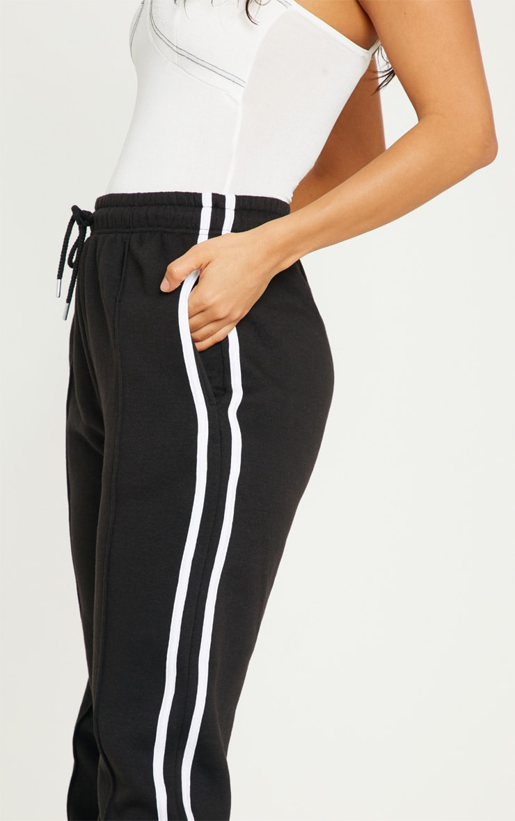 Black Double Side Stripe Joggers 5