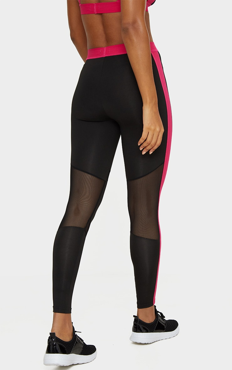 PrettyLittleThing Pink Band Leggings 4