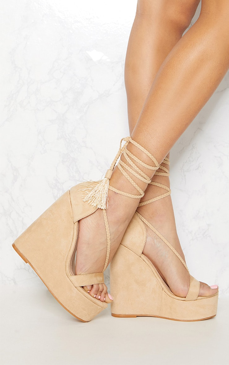 Nude Ghillie Tassel Tie High Wedge