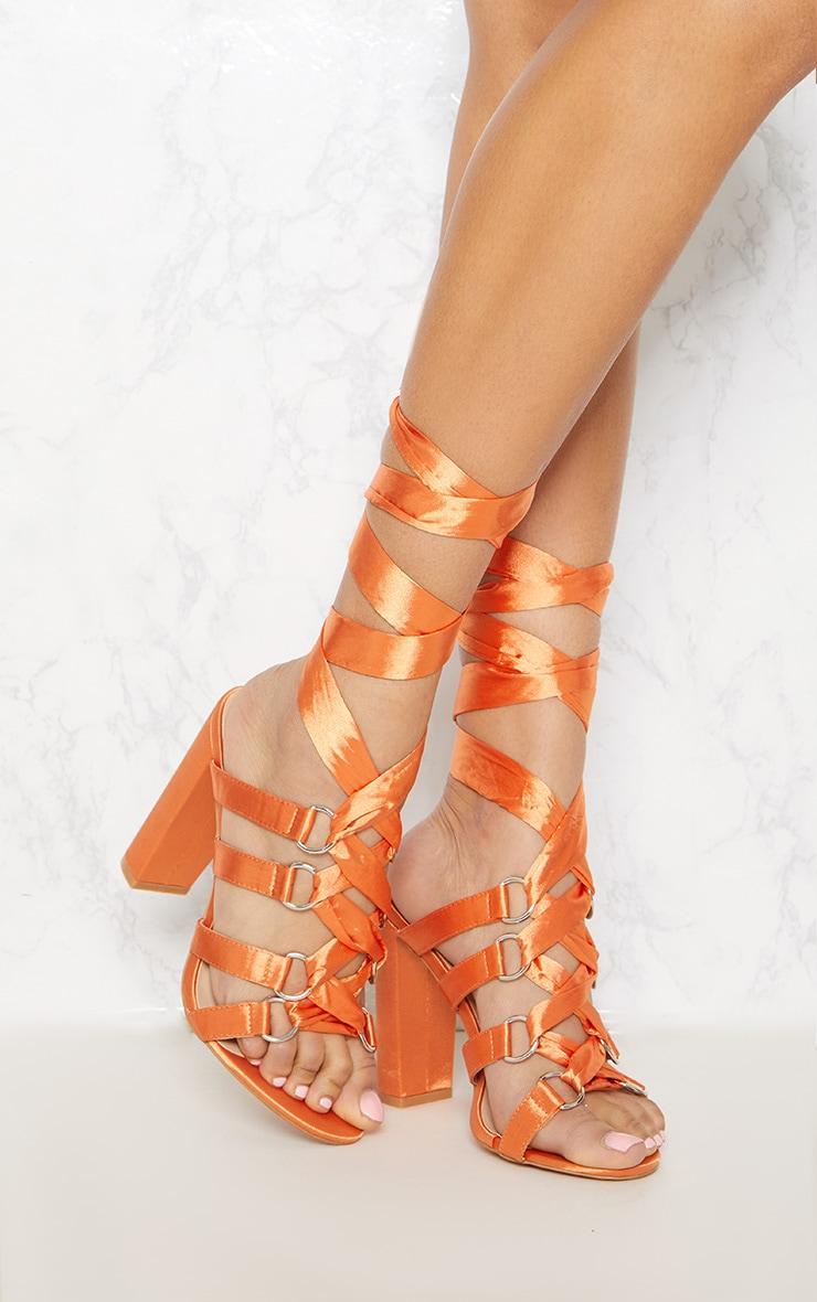 Orange Block Heel Ghillie Sandal