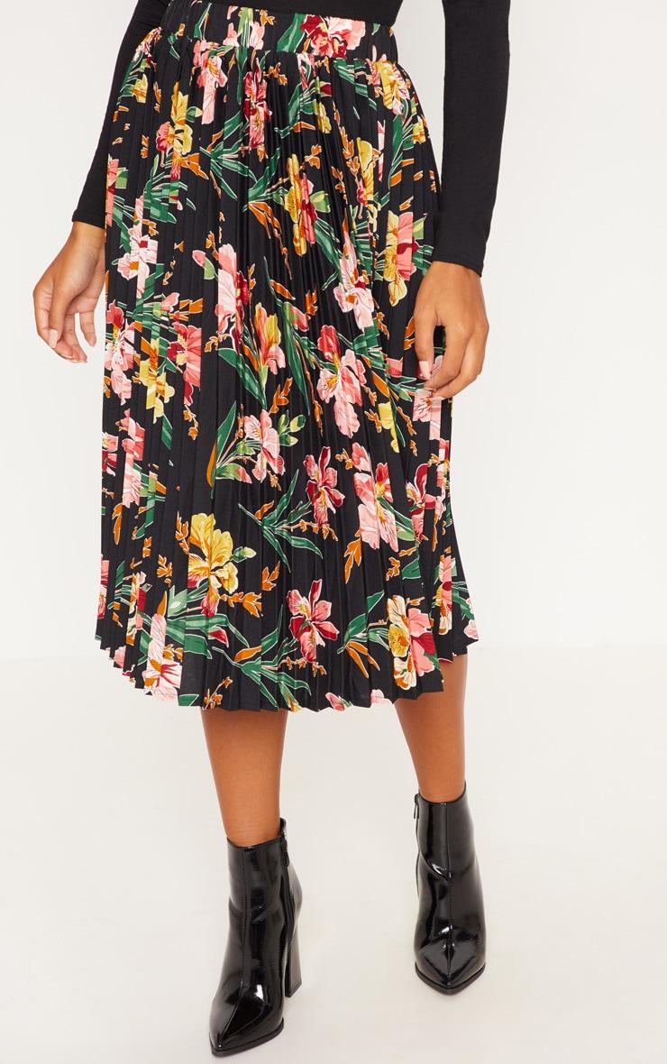 Black Floral Printed Pleated Midi Skirt 2