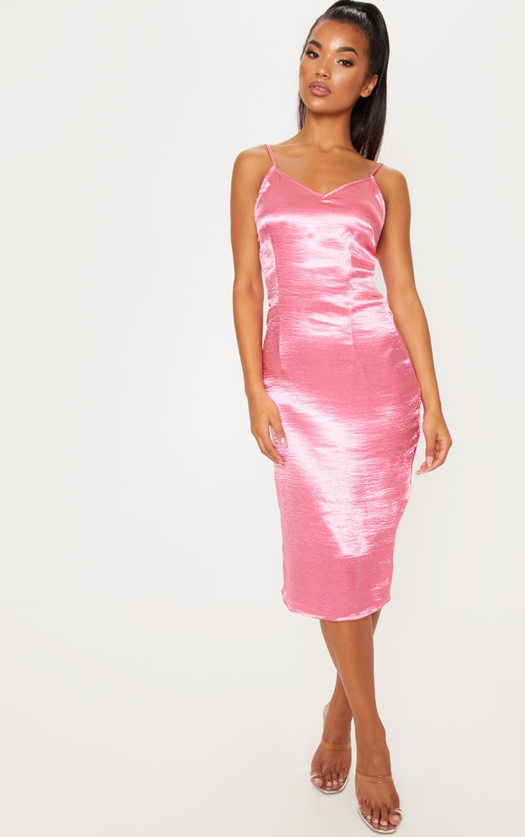 Rose Satin Slip Midi Dress 1