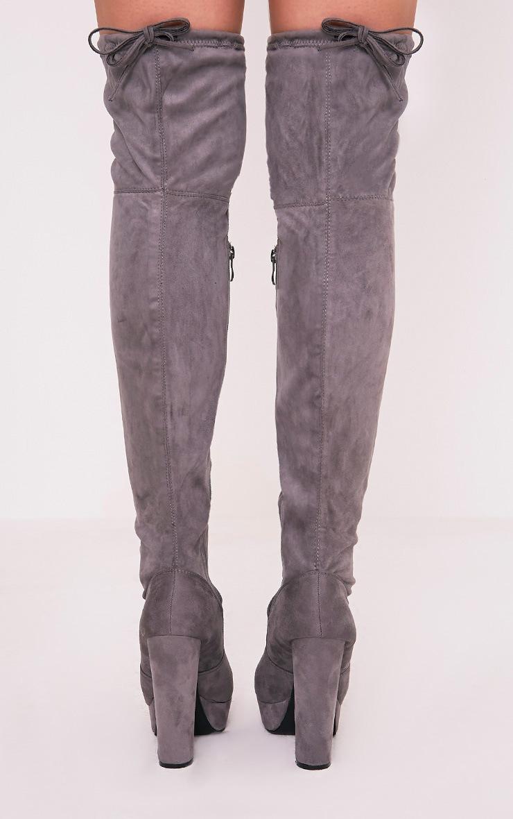 Elisabeth Grey Faux Suede Platform Thigh High Boots 4