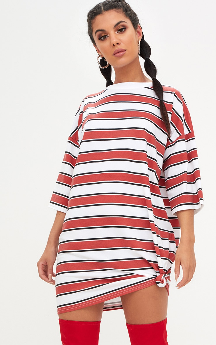 Nude Pink Stripe Oversized Boyfriend T-Shirt Dress for Girls Women Ladies