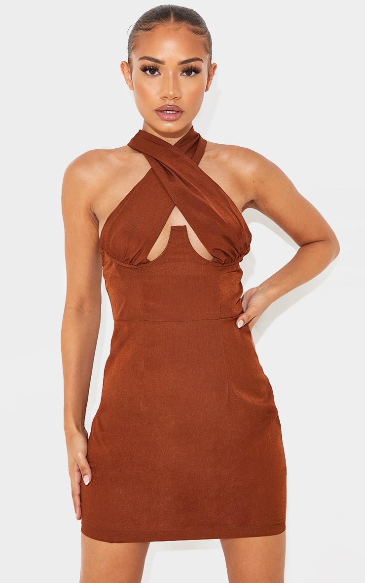 Petite Chocolate Wrap Over Underbust Bodycon Dress 3