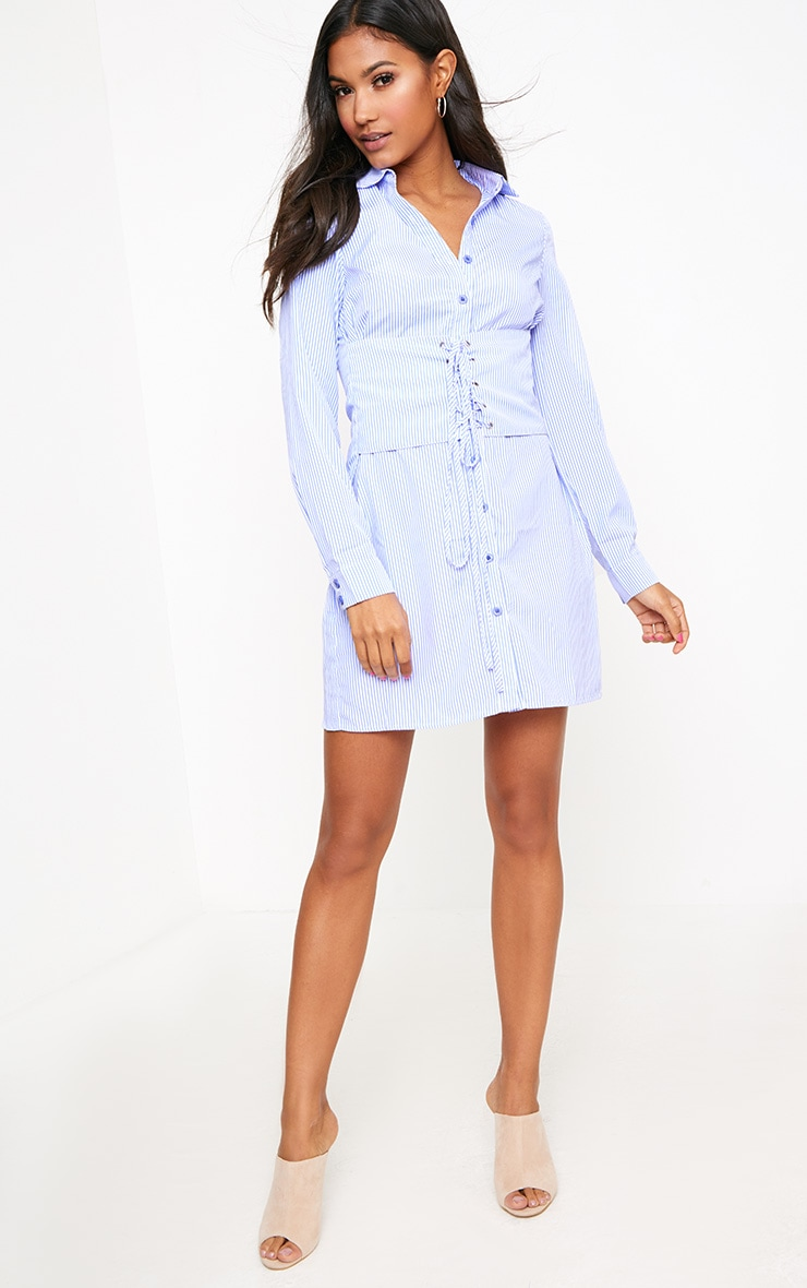 Blue Corset Lace Up Open Shirt Dress 4