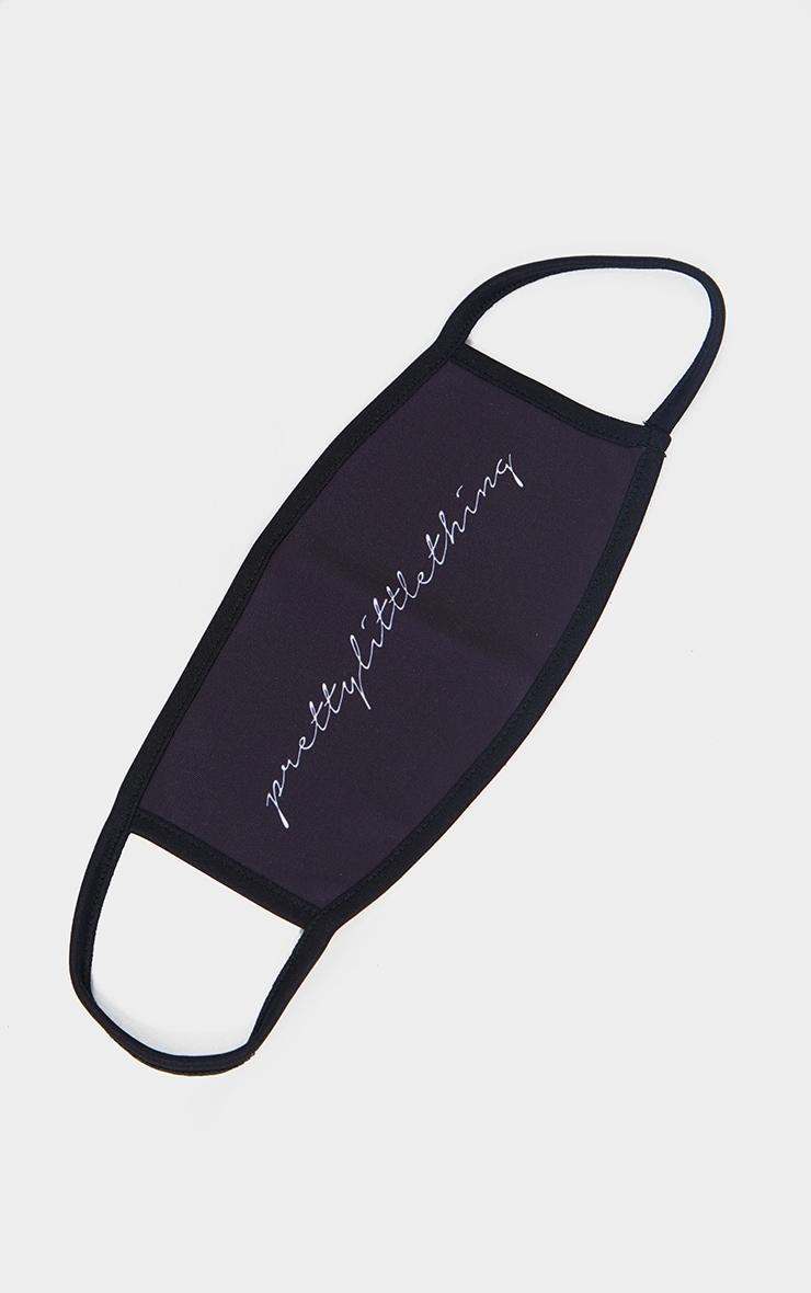 PRETTYLITTLETHING Black Calligraphy Fashion Mask 1