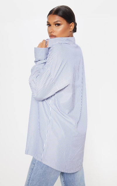 Navy Stripe Oversized Long Line Shirt
