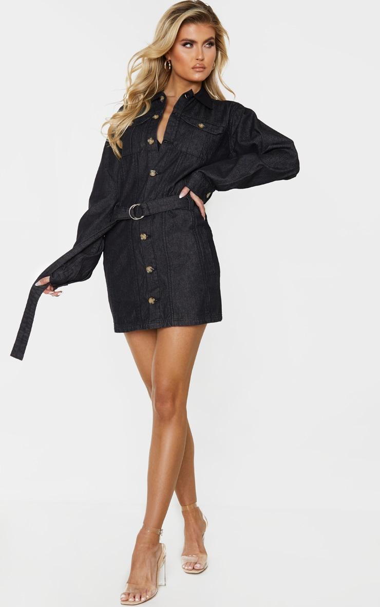 Tall Black Washed Belted Denim Shirt Dress 4