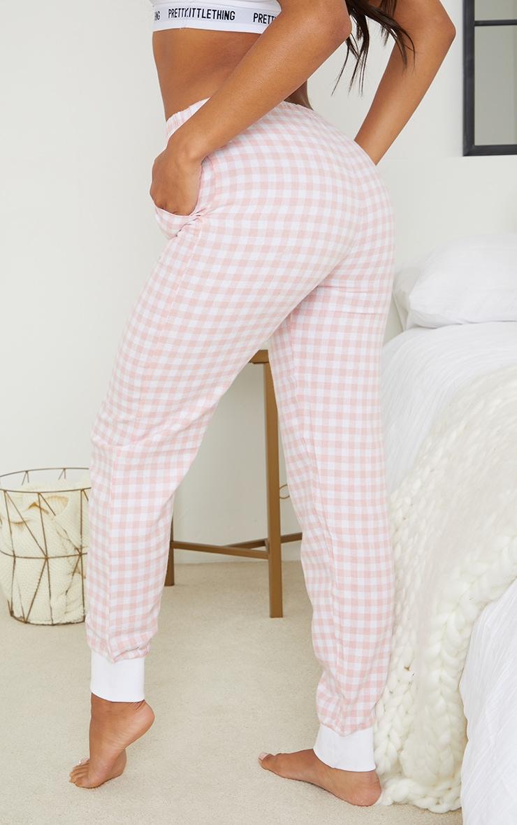Pale Mix And Match Pink Check Cuffed PJ Track Pants 3