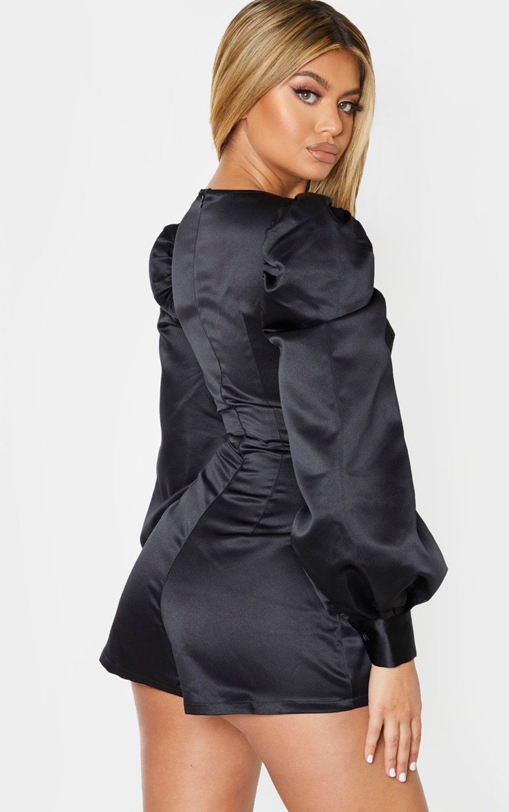 Black Bonded Satin Bust Detail Playsuit 2