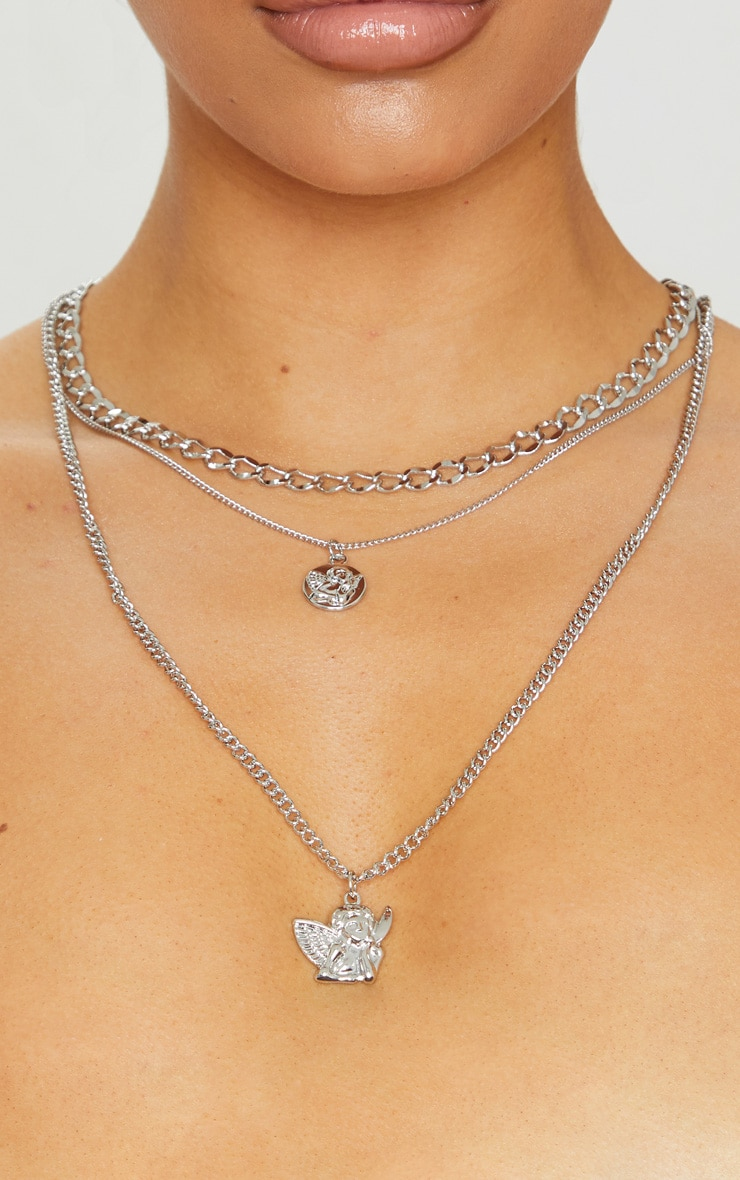 Silver Multi Chain Angel Necklace 2