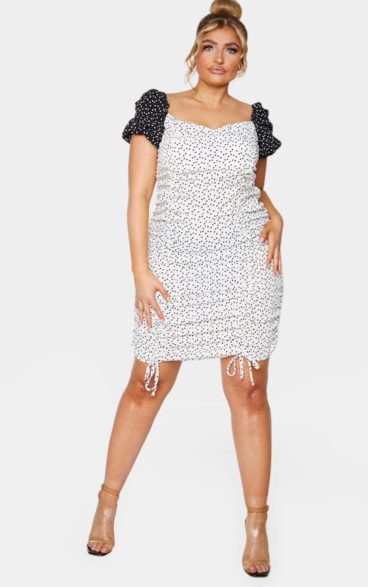 Plus White Heart Print Puff Sleeve Contrast Bodycon Dress 3
