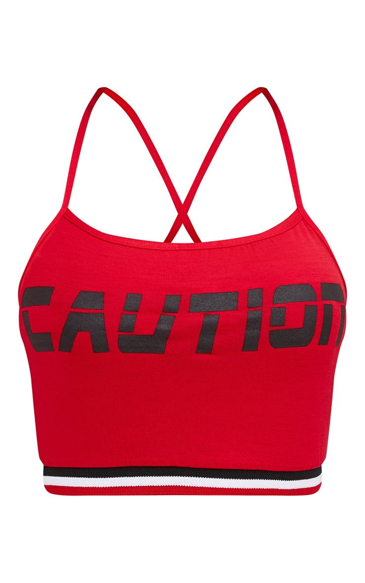 Shape Red Caution Sports Rib Crop Top 3