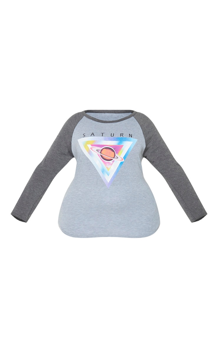 Plus Grey Graphic Long Sleeve Jersey T Shirt 3