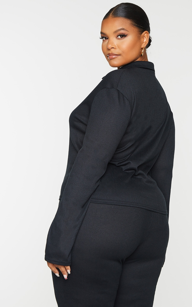 Plus Black Ribbed Collared Long Sleeve Top 2